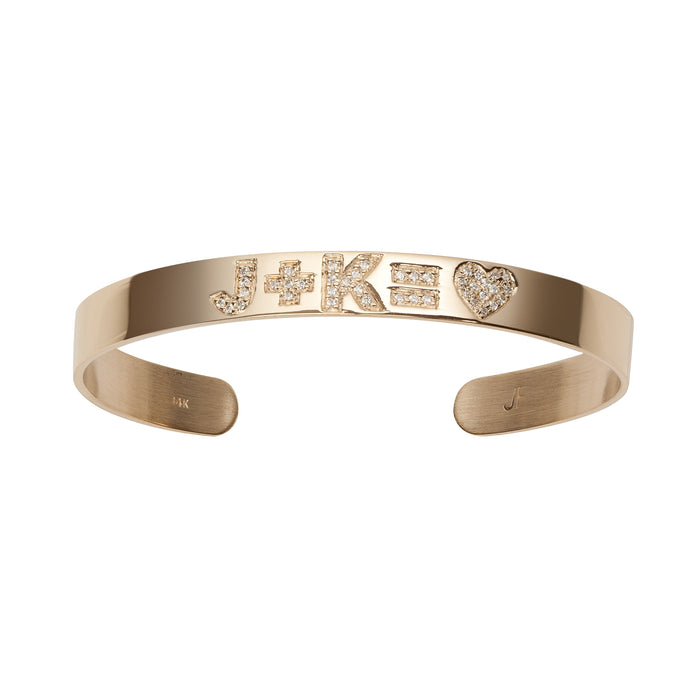 Skinny Burnish Equation Cuff with Heart