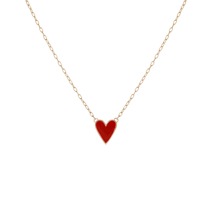Small Gold Border Enamel Heart Pendant