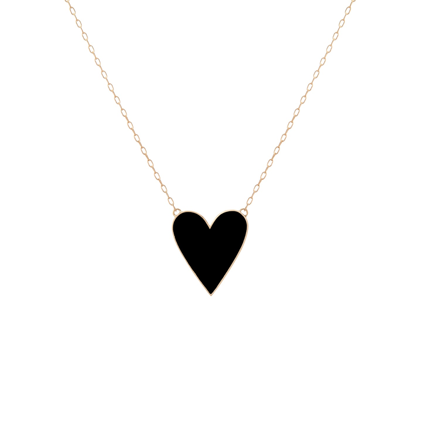 Large Gold Border Enamel Heart Pendant