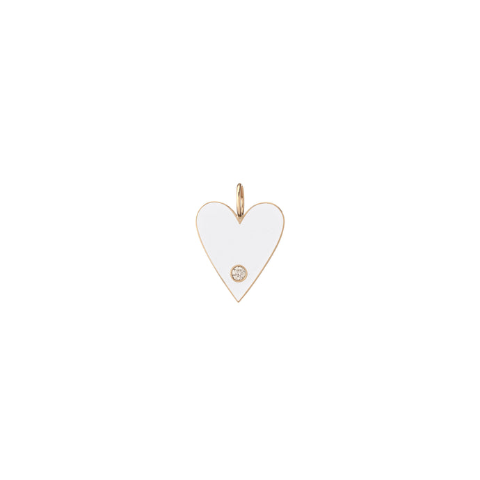 Large Gold Border Enamel Heart with Diamond