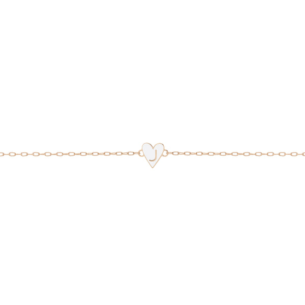 Mini Gold Border Enamel Heart Bracelet with Letter