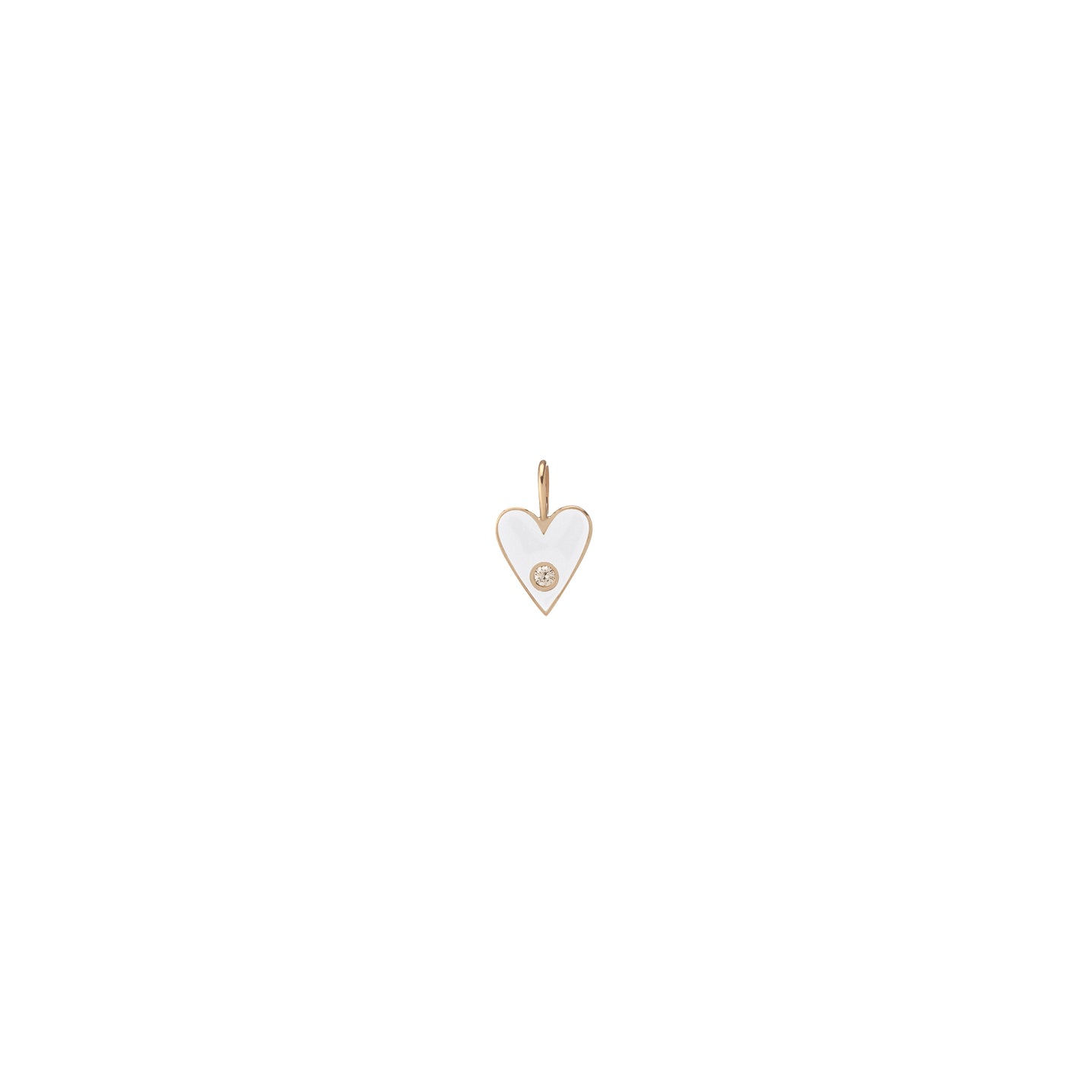 Small Gold Border Enamel Heart with Diamond