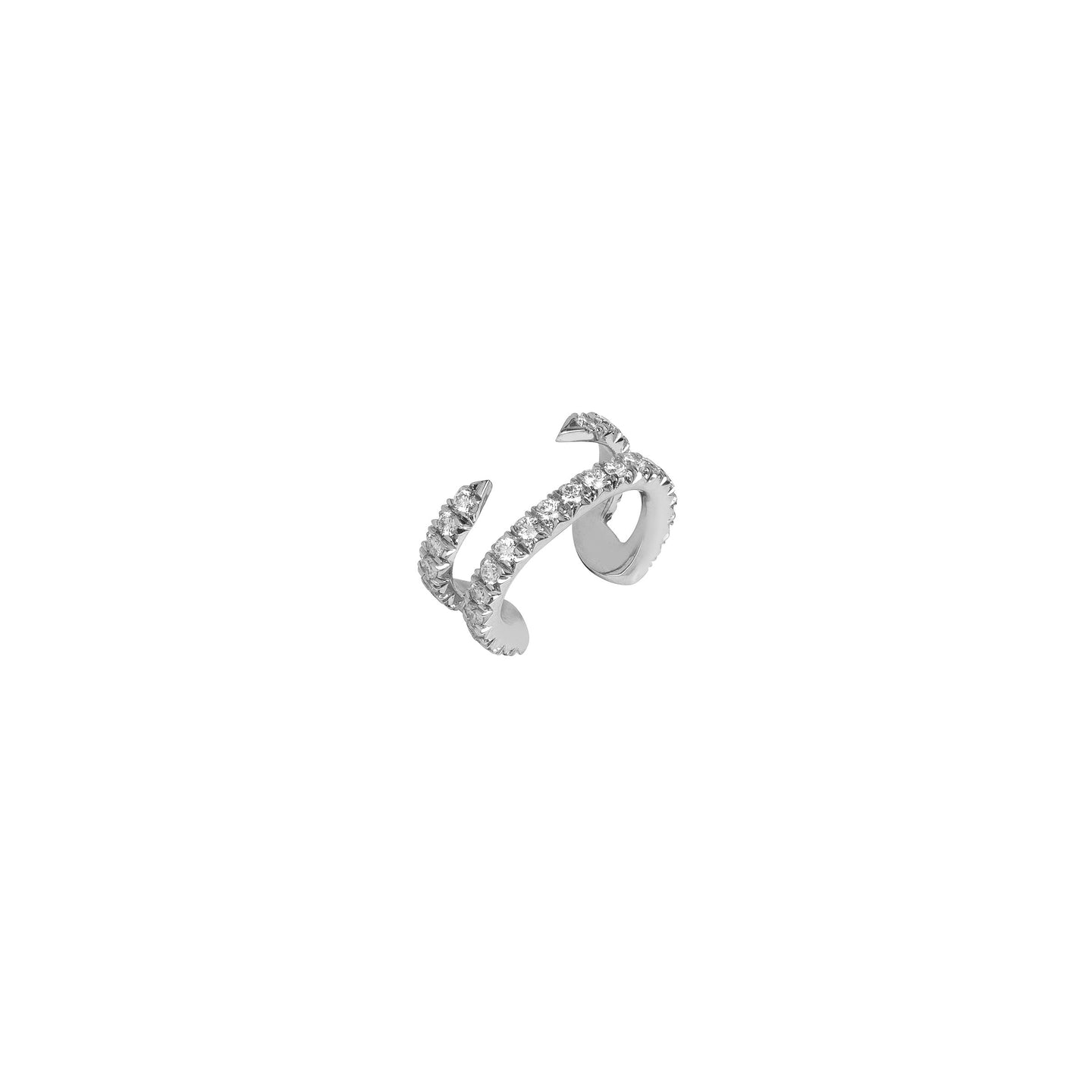 Pin Ear Cuff with pave White Diamonds