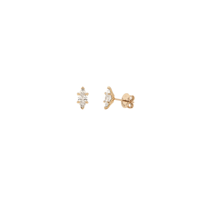 18k Yellow Gold .51ct Marquise Cut Lab Grown Diamond Stud