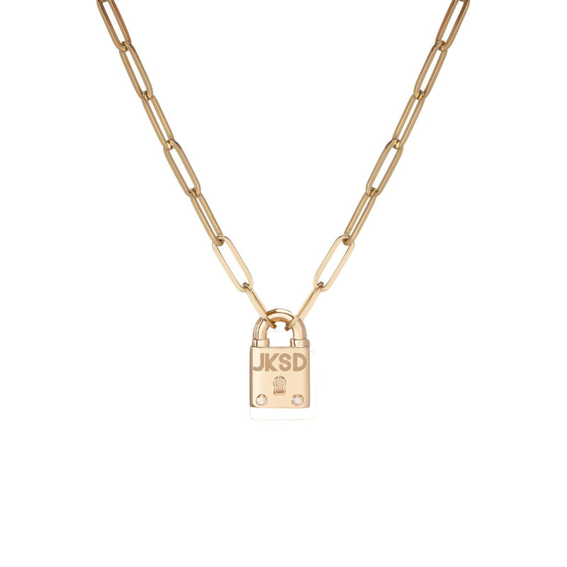 Small Family Minimal Block Lock Pendant with 2 White Diamonds