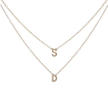 Double Mini Minimal Block Pendant Necklace with Pavé White Diamonds