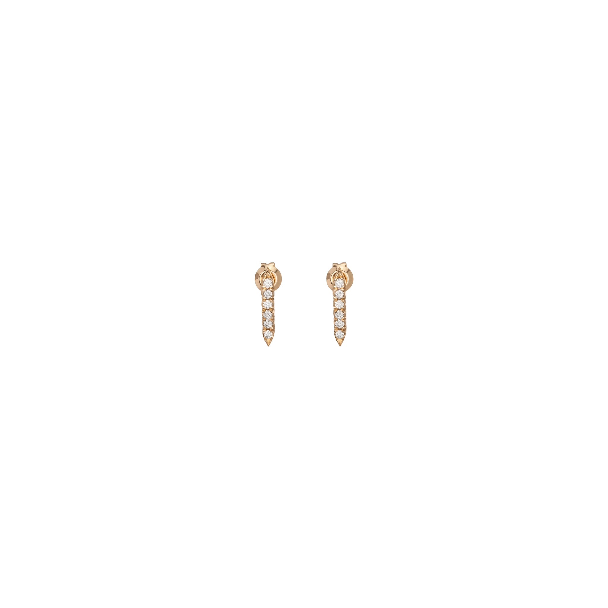 ESSENTIAL PIN EARRINGS WITH PAVE WHITE DIAMONDS