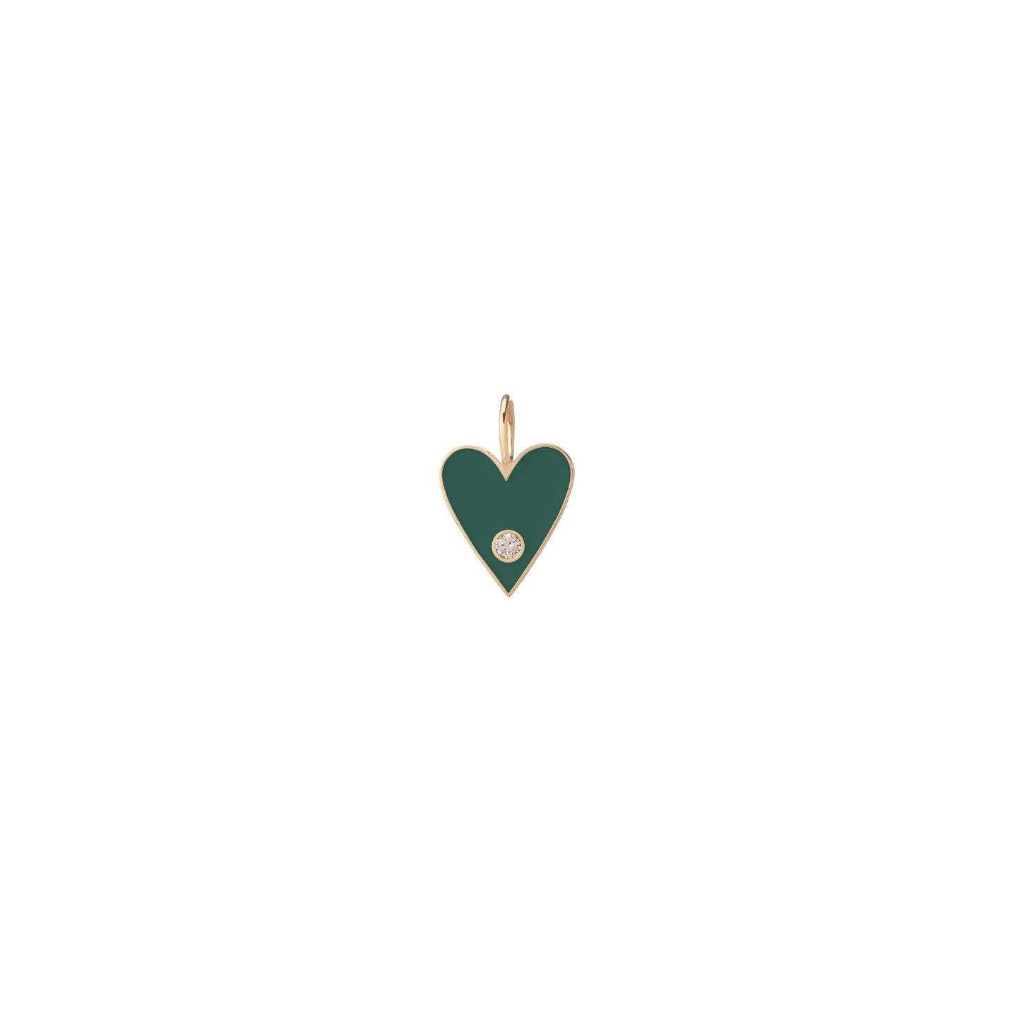 Medium Gold Border Enamel Heart with Diamond