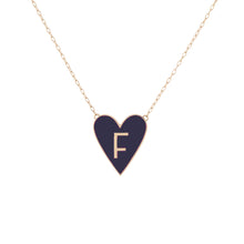Large Gold Border Enamel Heart Pendant with Letter