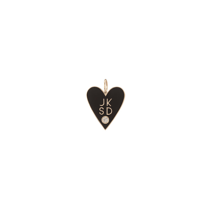 Large Family Enamel Heart with 4 Letters and Diamond