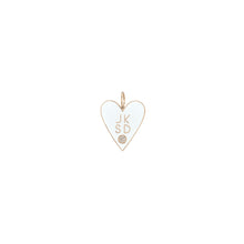 Family Enamel Heart with 4 Letters and Diamond