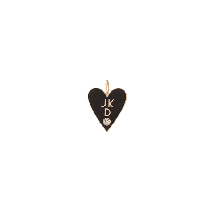 Large Family Enamel Heart with 3 Letters and Diamond