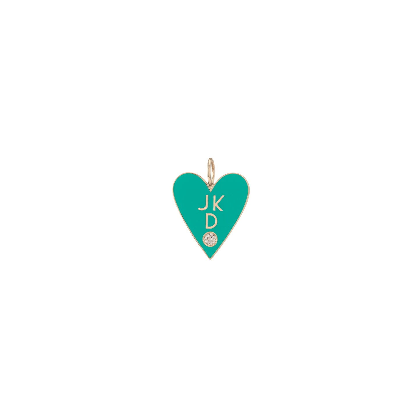 Family Enamel Heart with 3 Letters and Diamond