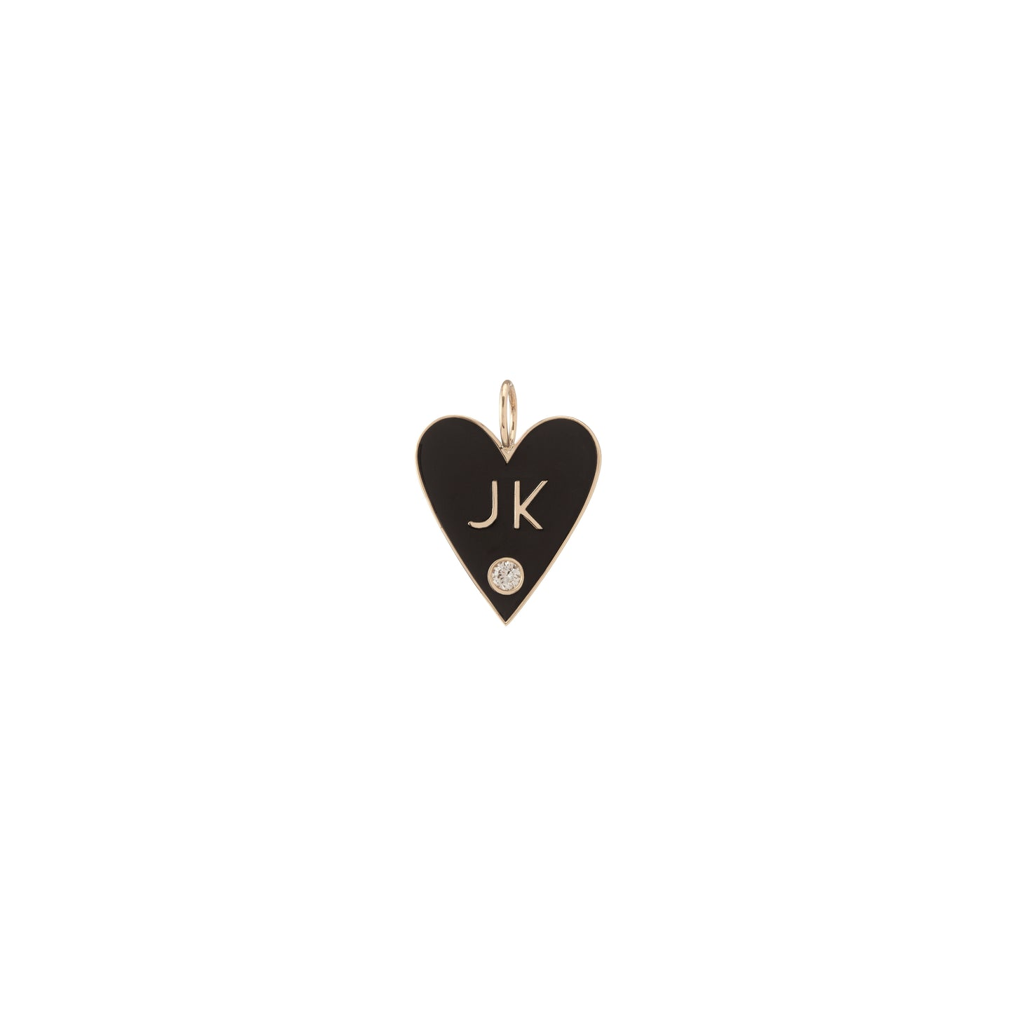 Large Family Enamel Heart with 2 Letters and Diamond