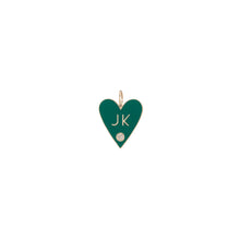 Family Enamel Heart with 2 Letters and Diamond