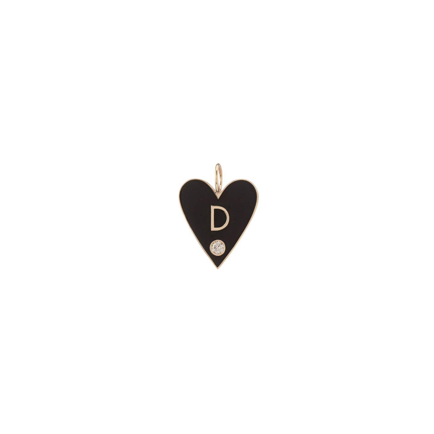 Large Family Enamel Heart with 1 Letter and Diamond