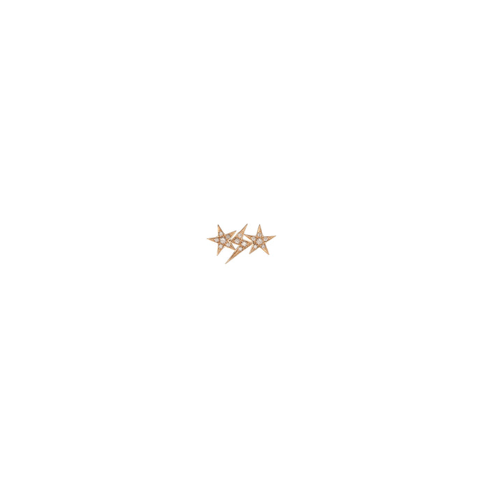 Single Star and Bolt Trio Earring with Pave White Diamonds