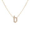 Medium Gothic Letter Pendant with Pave White Diamonds on Small Long Link Chain
