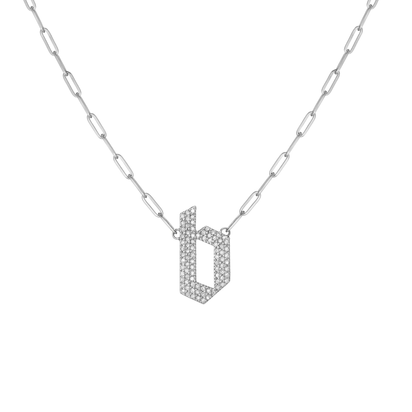 Medium Gothic Letter Pendant with Pave White Diamonds