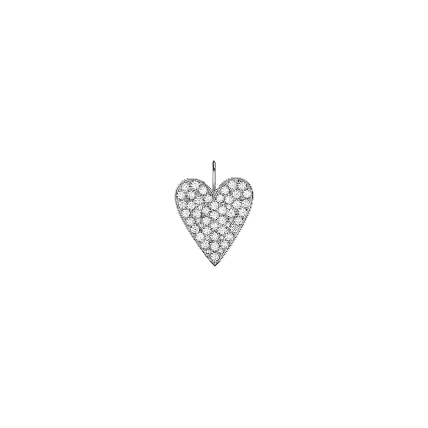 Large Heart with Pave White Diamonds