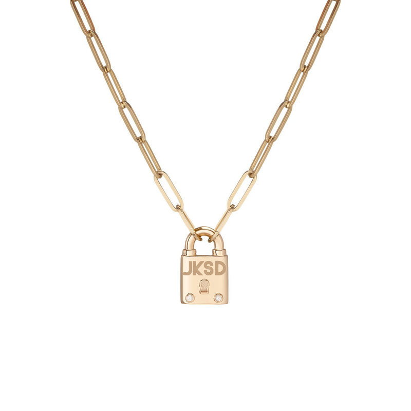 Large Family Minimal Block Lock Pendant with 2 White Diamonds