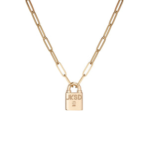 Large Family Minimal Block Lock Pendant