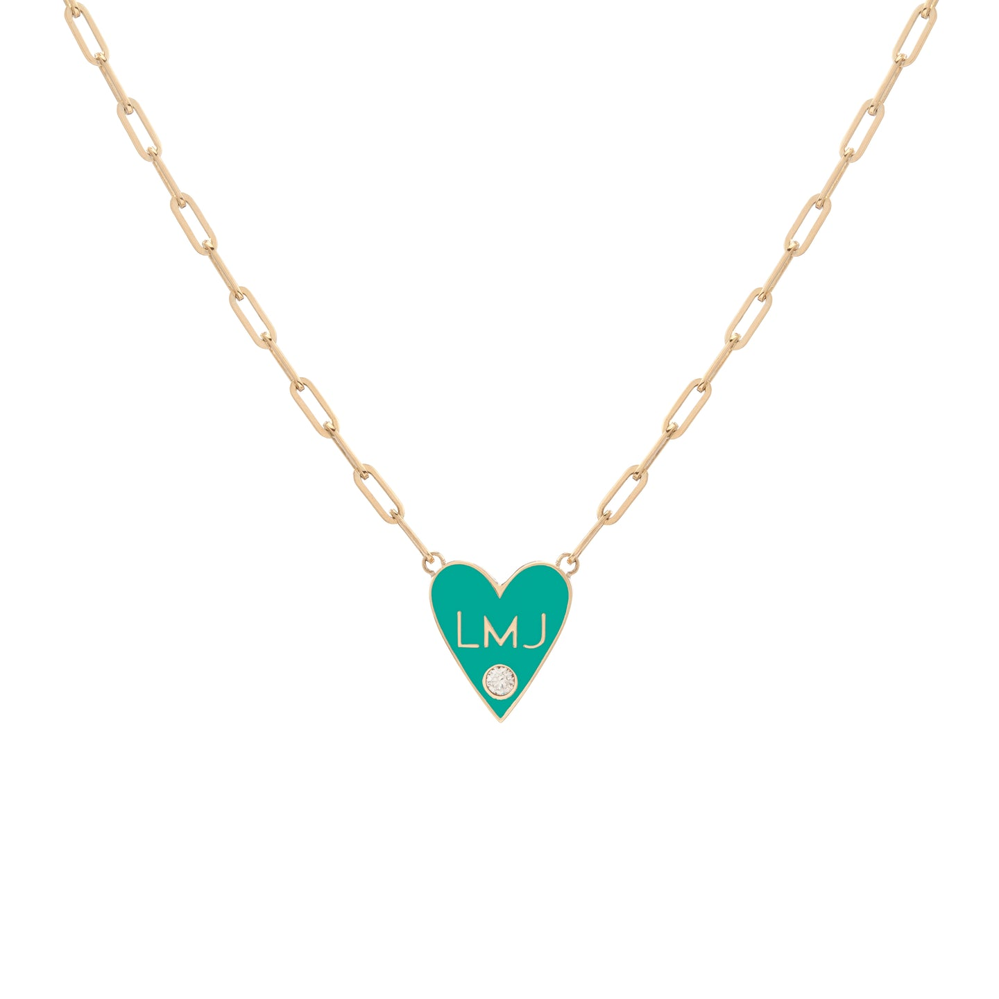Medium Family Enamel Heart Pendant with 3 Horizontal Letters and Diamond