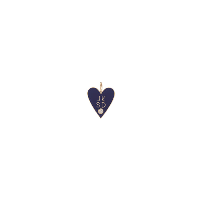 Medium Family Enamel Heart with 4 Letters and Diamond