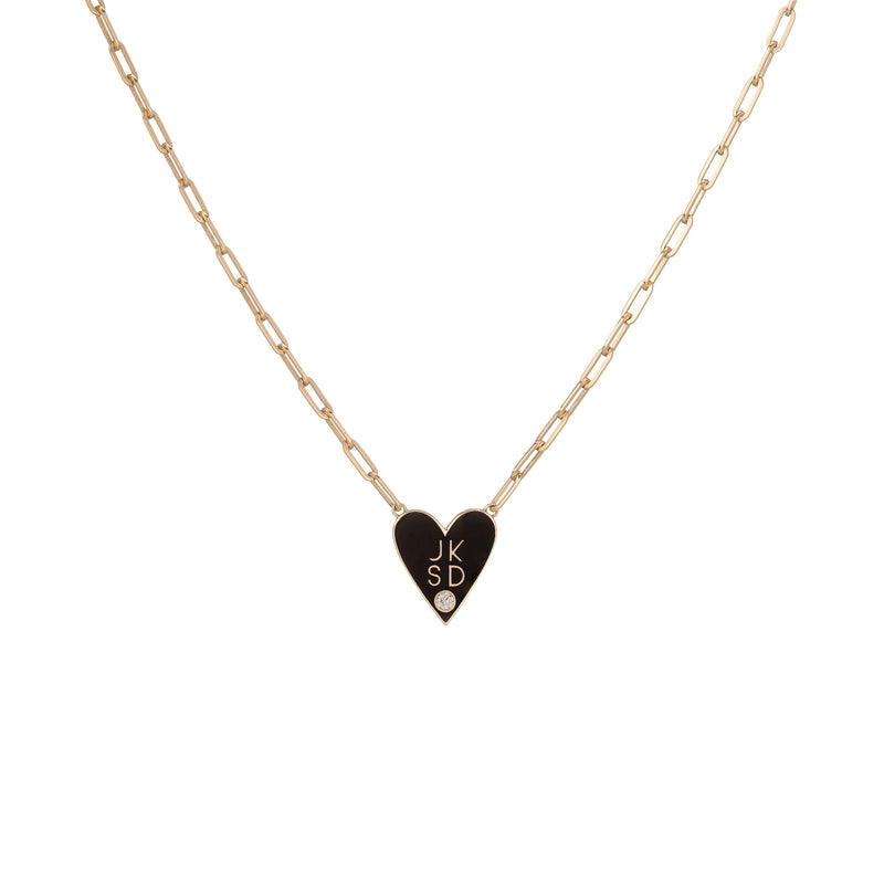 Medium Family Enamel Heart Pendant with 4 Letters and Diamond