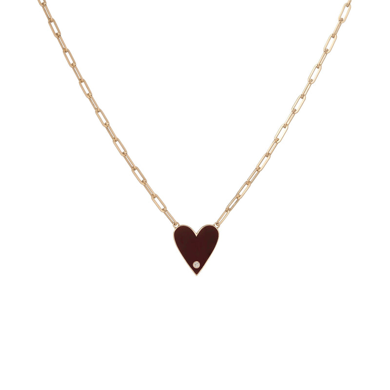 Medium Family Enamel Heart Pendant with 2 Letters and Diamond