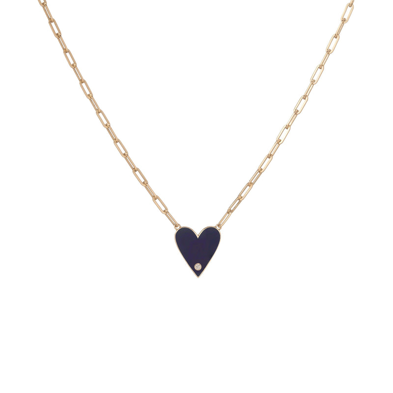 Medium Family Enamel Heart Pendant with 3 Letters and Diamond