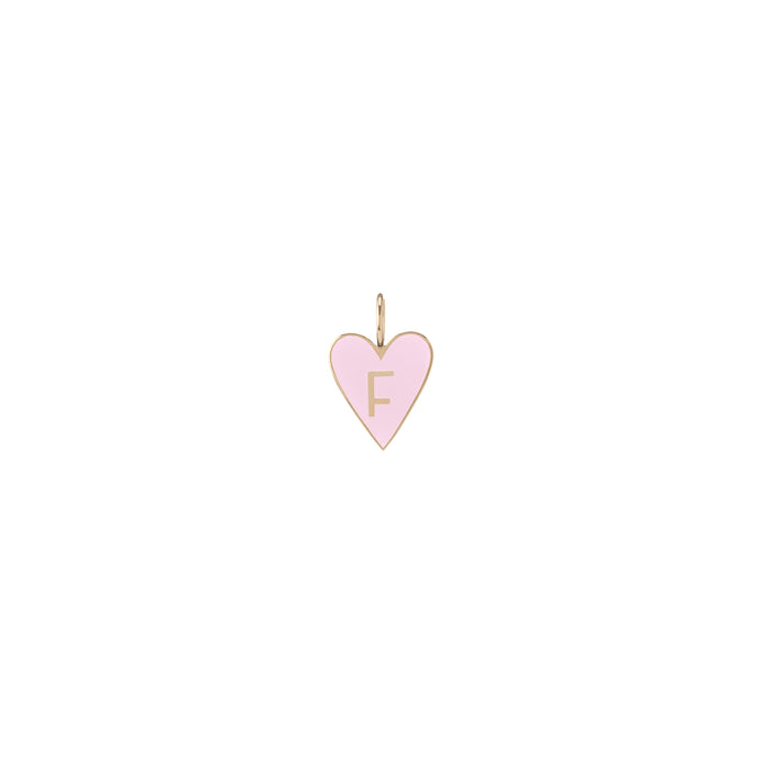 Medium Gold Border Enamel Heart with Letter