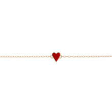 Mini Gold Border Enamel Heart Bracelet