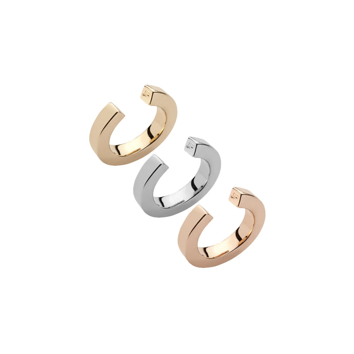Tri-Color Square Ear Cuff Trio