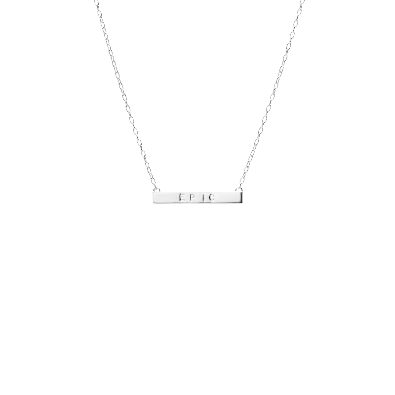Mini Tall Dog Tag Bar Necklace