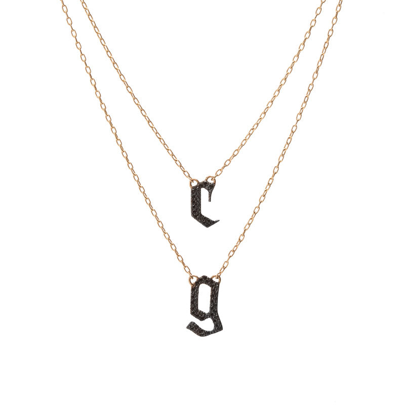 Double Small Gothic Letter Necklace with Pavé Black Diamonds
