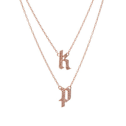 Double Small Gothic Letter Necklace with Pave White Diamonds
