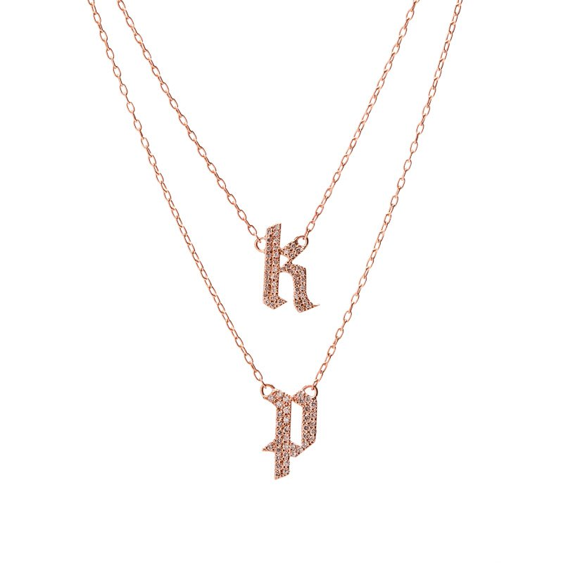 Double small gothic letter necklace with pave white diamonds double small gothic letter necklace with pave white diamonds aloadofball Images
