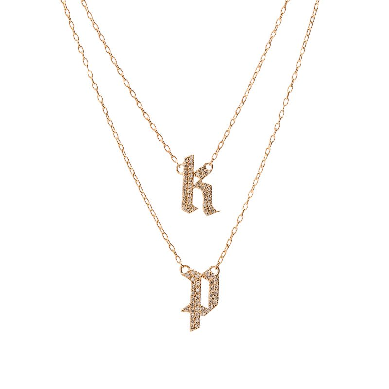 gold lowercase letter il initial tiny cursive dainty etsy market necklace