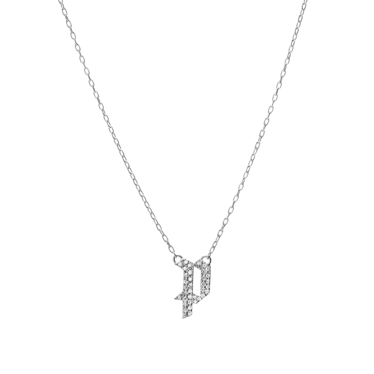 Small Gothic Letter Pendant with Pave White Diamonds