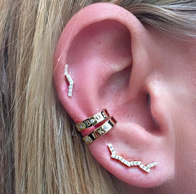 Ear Cuff with Monogram and 2 White Diamonds
