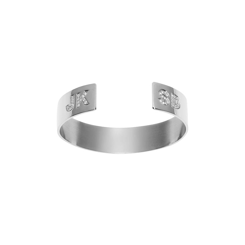 Medium Reverse Cuff with Burnish White Diamond Initials