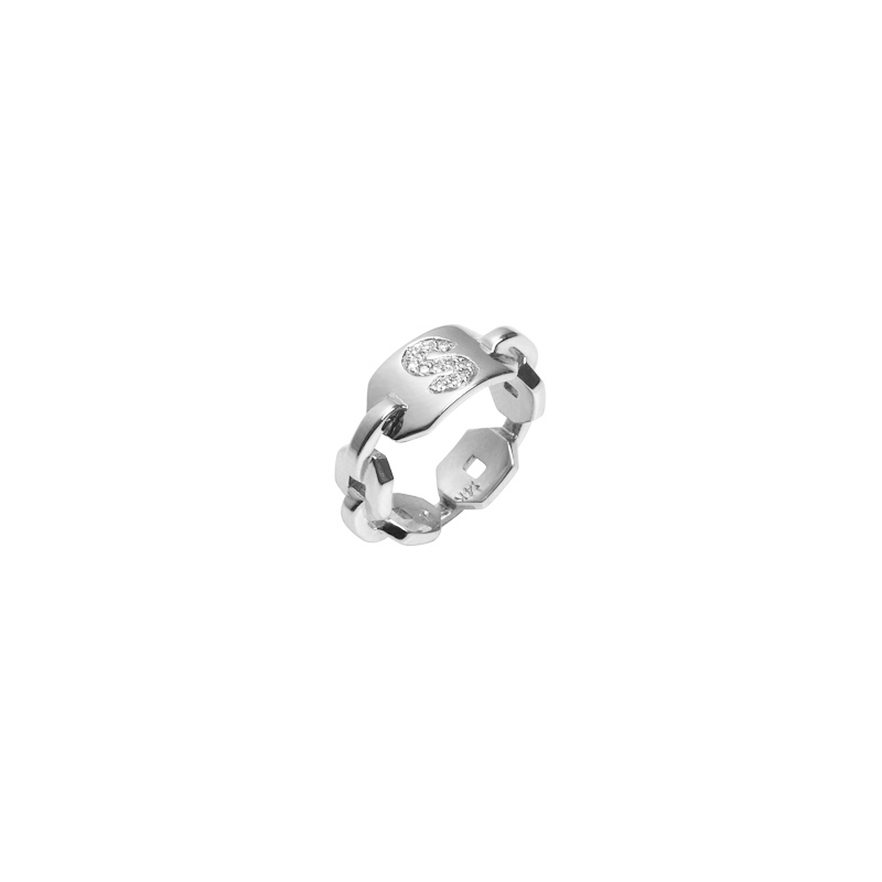 Mini Chain Link ID Ring with Burnish White Diamond Initial