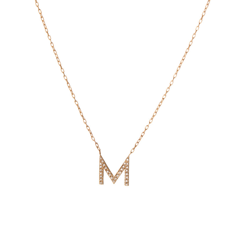 Minimal block letter pendant necklace with pave white diamonds aloadofball Images