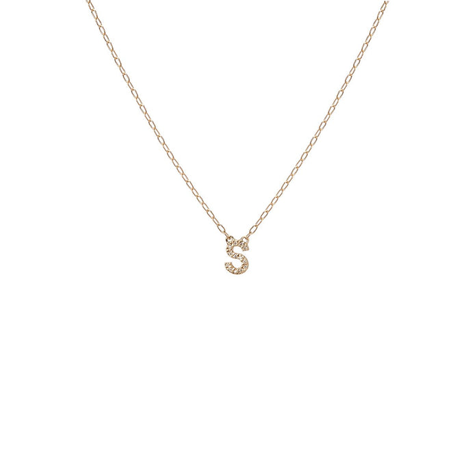 Mini Minimal Block Letter Pendant Necklace with Pave White Diamonds