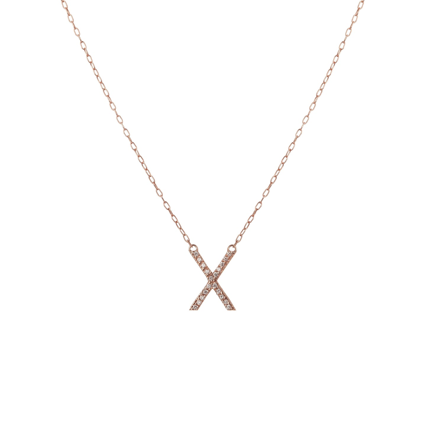 Minimal Block Letter Pendant Necklace with Pave White Diamonds