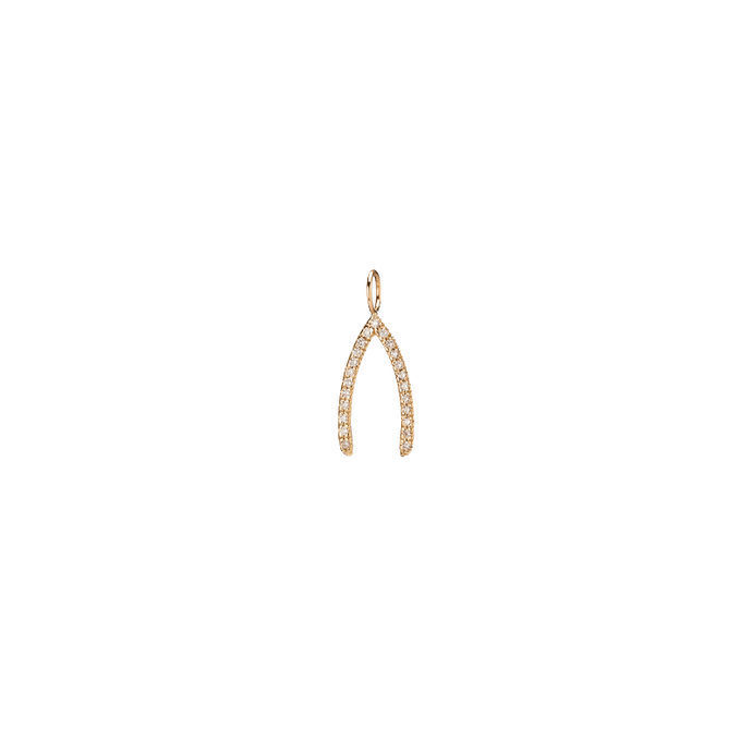 Mini Wishbone with pave White Diamonds