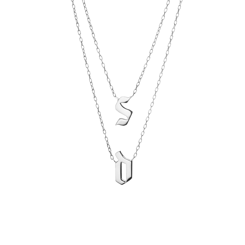 Double Medium Gothic Letter Necklace