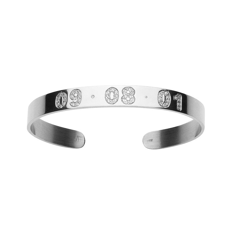Skinny Burnish White Diamond Date Cuff