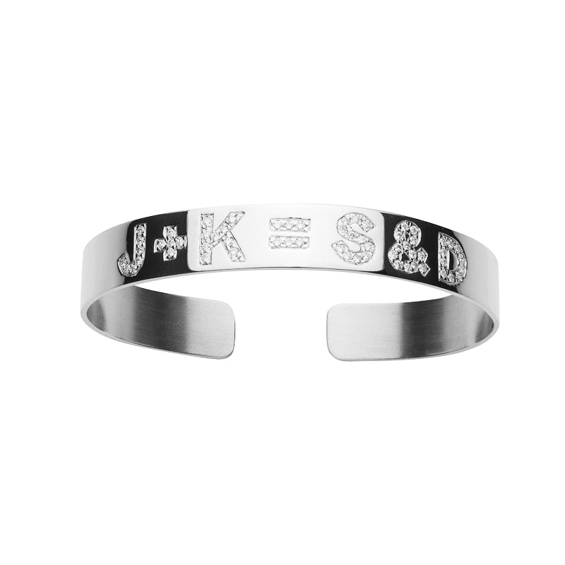 Burnish White Diamond Equation Cuff